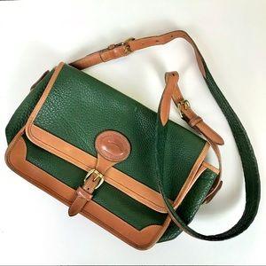 Dooney & Bourke Vtg Green Tan Leather Crossbody